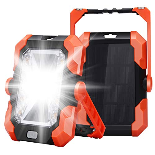 Leolee LED Baustrahler Akku, LED Arbeitsleuchte Campinglampe Solar USB Wiederaufladbares Batterie Powerbank Magnet Arbeitslicht Wasserdicht...