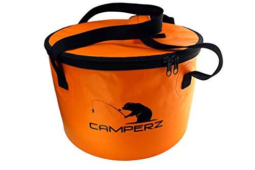 CAMPERZ Faltbarer Eimer, Faltschüssel für Angeln, Gartenarbeit - zusammenklappbarer Falteimer, Wassereimer, Angel Eimer mit Deckel und...