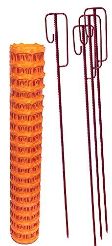 UvV-Shop (ES-Team Consult GmbH) Set 4 Absperrhalter und 10 Meter Fangzaun, Absperrnetz, Maschenzaun, Bauzaun auf Rolle Kunststoff extrem...