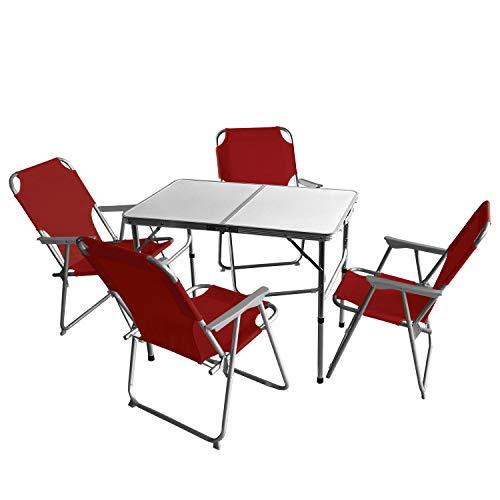 Wohaga 5tlg. Campingmöbel Set Campingtisch 'Bergen', Aluminium, 90x60cm + 4X Campingstuhl, Rot/Strandmöbel Campinggarnitur Gartenmöbel
