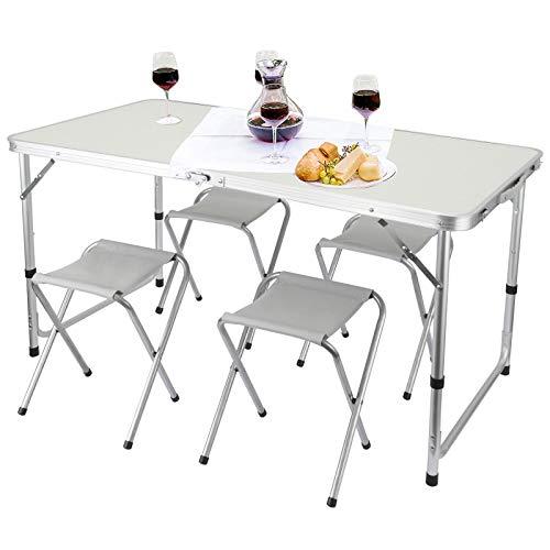 Rayisin Campingtisch 120 x 60 x 55/60/70(höhenverstellbarer) cm, Alu Falttisch mit Tragegriff, Klapptisch Set mit 4 Stühlen, Gartentisch...