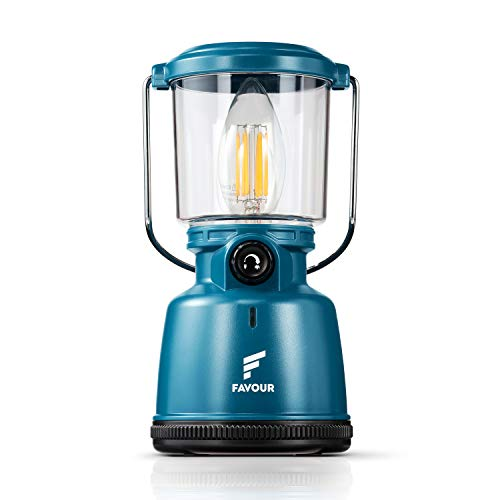 Favour Retro LED Laterne Filament Campinglampe IP64 wasserdicht, tragbare Camping licht wiederaufladbar (inkl. Akku) stufenlos dimmbar inkl....