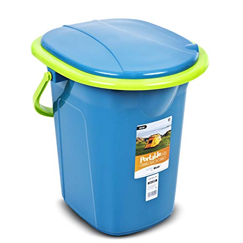 Green Blue GB320 Campingtoilette 19L Mobile Toiletteneimer Reisetoilette Toilette Eimertoilette Mobil Camping (Türkis/Limone)