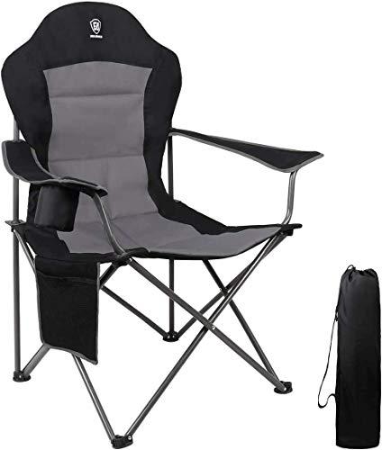 EVER ADVANCED Klappstuhl Campingstuhl Angelnstuhl faltbar hoher Rücken mit Getränkehalter Seitentasche Übergröße belastbar 136kg...