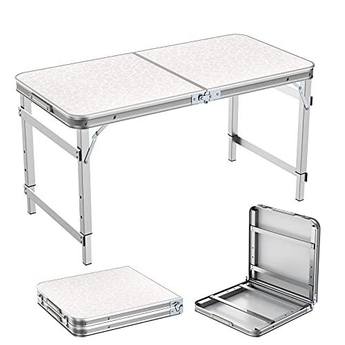 Campingtisch Klapptisch 1,2m Tragbare Einstellbare Höhe Picknick Esstisch Barbecue Gartentisch Falttisch mit Koffergriff Drinnen und...