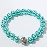Rakuby 35 cm, 1 Magnetische Vorhanggurte, Elegante Handgemachte Perlenband, Transparente Vorhangdekoration FüR Home Office-Blau