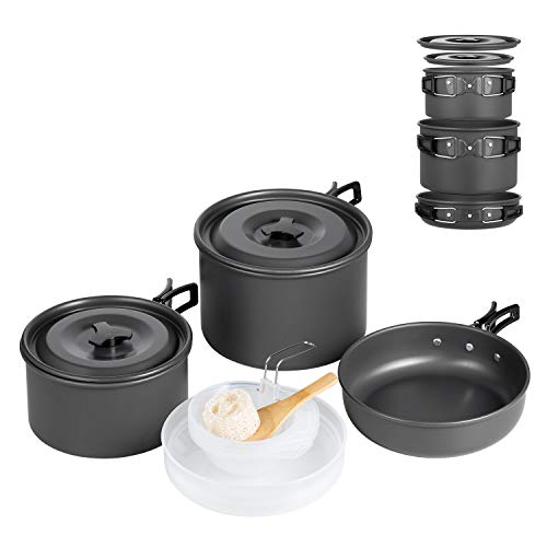 Terra Hiker Camping-Kochgeschirr-Set, Antihaftbeschichtung, leicht, stapelbar, Kochtöpfe und Pfannen mit Netztasche für Rucksackreisen,...