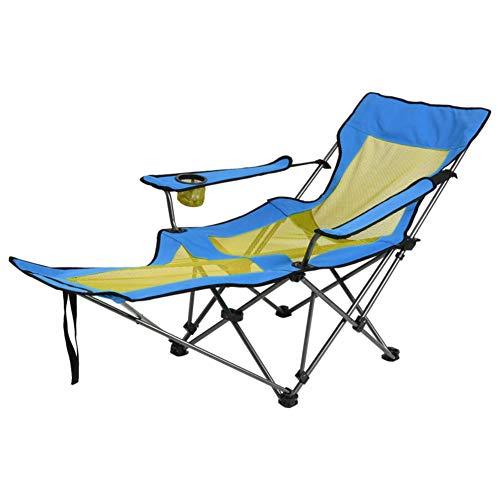 Diumy Campingstuhl mit fußstütze, Transportabel Kompakter Verstellbare liegesessel Outdoor Lightweight Angeln Stuhl -blau
