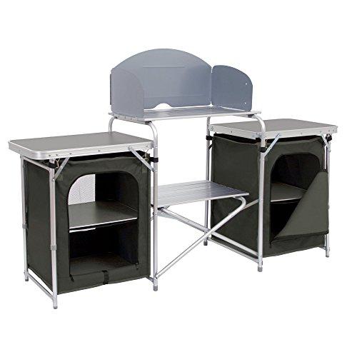 CampFeuer Campingschrank, Aluminium Campingküche, (B) 171 x (H) 111 x (T) 48 cm, Faltschrank mit Spritzschutz, vielen Ablagen und...