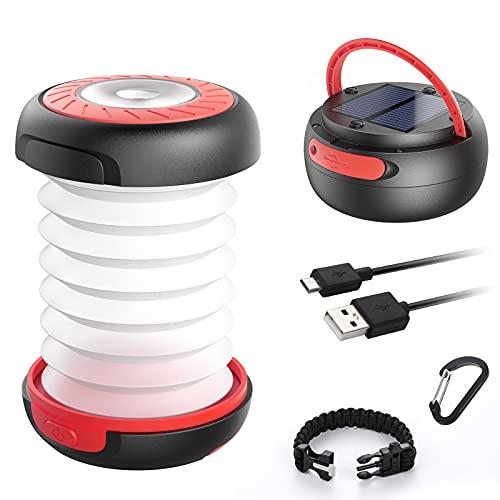 LED Campinglampe GlobaLink faltbare Solar Camping Laterne Energienbank mit 2 Lademethoden (Solar/USB) und 3 Lichtmodi für Camping, Angeln,...