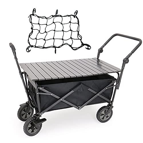 DFFH Bollerwagen Faltbar Grosse Kapazität Folding Wagon Mit Desktop, Kompakt Outdoor Gartenanhänger Mit Teleskopgriff Für Campinggarten...