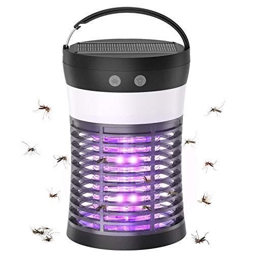 Elektrischer UV Insektenvernichter Lampe, 3 In 1 Solar Mückenkiller Campinglampe mit USB Wiederaufladbar IP66 Fliegenfalle Insektenlampe...