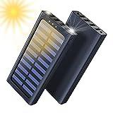 Solar Powerbank, 24000mAh Externer Akku, 4 USB mit 2.4A Ausgänge Tragbares Ladegerät für Aktivitäten im Freien, USB-C Eingang...