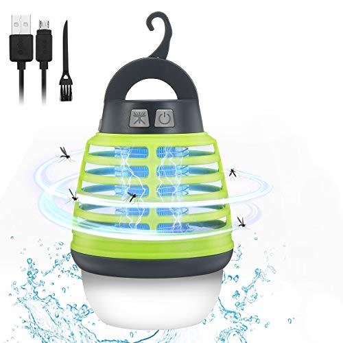 KINGSO Elektrischer Insektenvernichter UV Moskito Lampe, Insektenvernichter Mückenlampe Camping Outdoor, Tragbare Campinglampe IP67...
