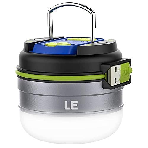 LE LED Campinglampe, Wiederaufladbare Suchscheinwerfer mit 3000mAh Powerbank, tragbar & handlich, mit Haken, 3 Helligkeiten Dimmbar...