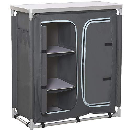 Outsunny Campingschrank faltbar Küchenbox tragbar mit Arbeitsplatte Tragetasche 3 Ablagen 1 Schrank 600D Oxford Stoff Grau 96 x 49,5 x 104...