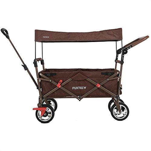 Fuxtec Faltbarer Bollerwagen FX-CT700 braun klappbar mit Dach, Vorder- und Hinterrad-Bremse, Vollgummi-Reifen, Schubbügel, für Kinder...