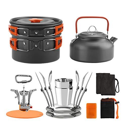Awroutdoor Camping Kochgeschirr Set, Aluminium Campingtöpfe Kochgeschirr Portable Leichte Mini Campingkocher für Outdoor Kochen Camping,...