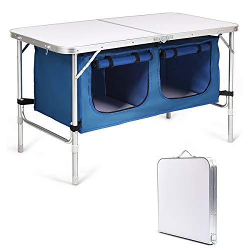 COSTWAY Campingküche mit großem Stauraum, Reiseküche Klapptisch Alu Höhenverstellbar von 53-70cm, Gartentisch Picknicktisch...
