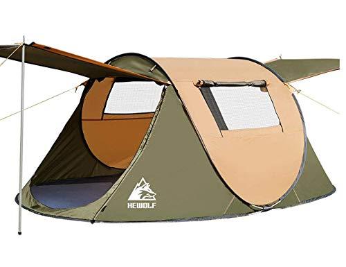 HEWOLF Wurfzelt 2-3 Personen Pop Up Camping Zelt Automatische Ultraleichtes Familienzelt Sekundenzelt Sonnenschutz Cabana für Outdoor...