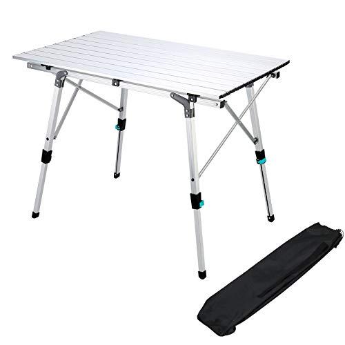 Synlyn Faltbar Klapptisch Campingtisch aus Aluminium Falttisch Klappbar Tisch Höhenverstellbar Gartentisch mit Tragetasche 90x52cm Outdoor...
