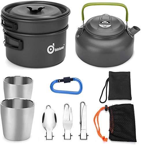 Odoland Camping Kochgeschirr Set 10-teiliges Outdoor Kochgeschirr 0.8L Teekessel mit 2 Tassen Faltbare Besteck Tragbar Aluminium Topf für...