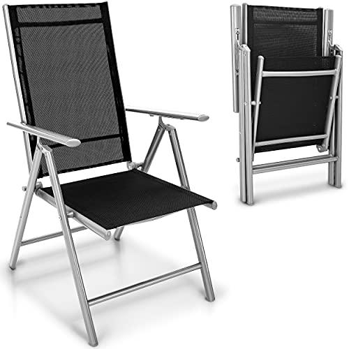 tillvex Gartenstuhl 6er Set klappbar aus Aluminium | Hochlehner mit Armlehnen | Klappstuhl verstellbar | Klappsessel Balkon Garten Terrasse...