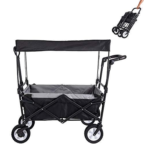 Amazon Brand - Umi Bollerwagen mit Dach Transportwagen Ausziehbarer Griff Handwagen Transportkarre Faltbar Gartenwagen Gerätewagen...