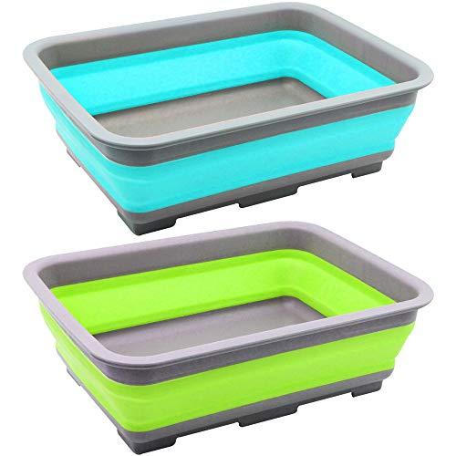 com-four® 2X Abwasch-Schüssel aus Silikon, Faltbare Camping-Schüssel [Farbe variiert] (02 Stück - bunt V2)