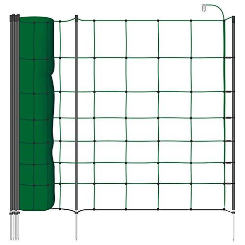 VOSS.farming Schafnetz Classic+ 50m 90cm Elektronetz 20 Pfähle 1 Spitze grün, Weidezaunnetz Hundezaun, für größere Hunde geeignet