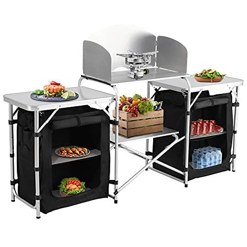 Spaire Klappbare Campingküche mit Ablagefach, mit Windschutz Reiseküche | Outdoorküche Kochtisch | Leicht zu reinigen, verwendbar für...