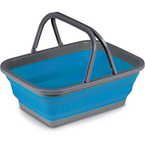 Faltkorb 38x29cm Korb platzsparend faltbar in grau-blau mit Henkeln Schüssel Waschschüssel Spülschüssel Einkaufskorb Haushalt Camping...