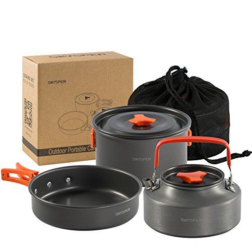 SKYSPER Camping Kochgeschirr Set 4-teiliges Outdoor Kochgeschirr Tragbar Camping Geschirr Set Aluminium Campinggeschirr Kochtopf Set...