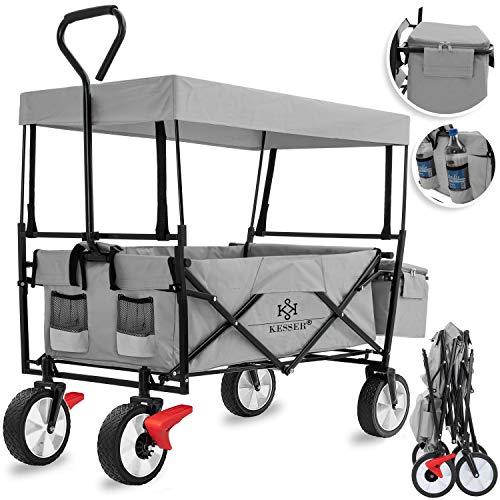KESSER® Bollerwagen faltbar mit Dach Handwagen Transportkarre Gerätewagen | inkl. 2 Netztaschen und Einer Außentasche | Mit...