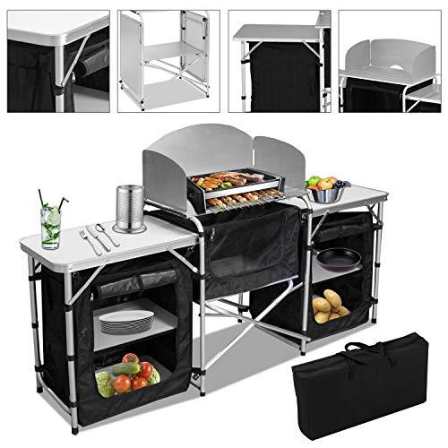 VINGO Campingküche   Campingschrank   Klappschrank   mit Aluminiumgestell   Reiseküche   Küchenbox   Zeltschrank   Outdoor Camping Küche...