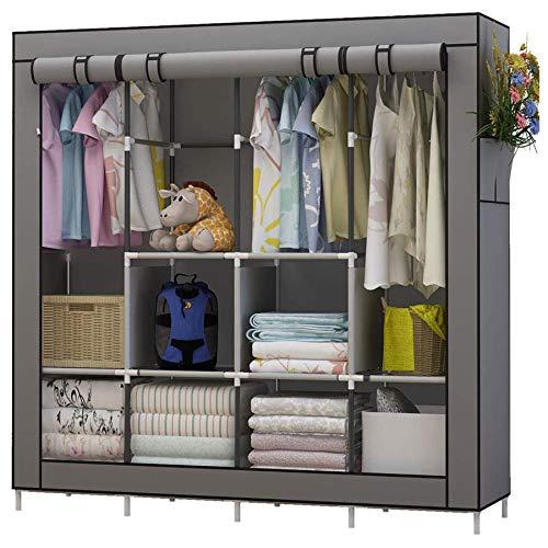 UDEAR Kleiderschrank Einfach aus Stoff Faltschrank Stoffschrank Furniture Bedroom Wardrobes (Grau)