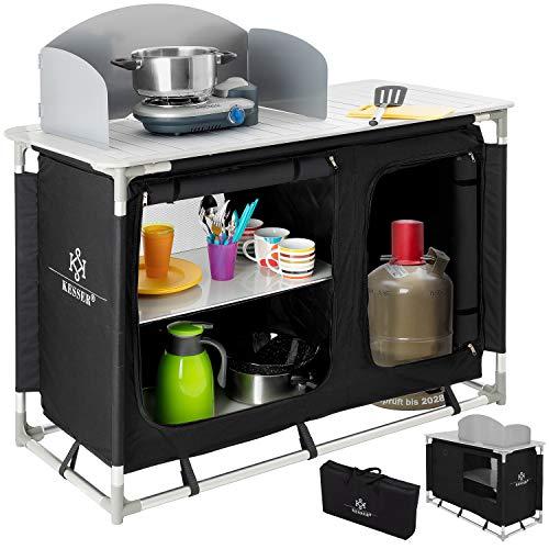 KESSER® Campingschrank, Campingküche mit Aluminiumgestell, Spritzschutz und Tragetasche Kocherschrank für Camping, Campingmöbel,...
