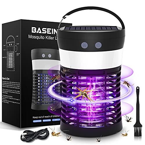 BASEIN UV Moskito Killer Lampe, Solar Bug Zapper Licht, 3-in-1 tragbare SOS Camping Laterne Moskito Zapper, Solar und USB aufladbar, IP65...