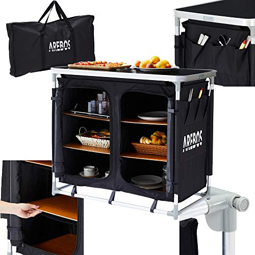 Arebos Campingküche | Größe L | Schwarz | inkl. Transporttasche | Geeignet für: Garten, Camping, Party, Buffet (L)