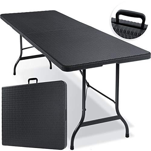 KESSER® Buffettisch Tisch klappbar Kunststoff 180x75 cm Rattan Optik Campingtisch Partytisch Klapptisch Gartentisch für Garten Terrasse...