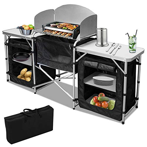 Hengda Campingküche mit Aluminiumgestell, Spritzschutz und Tragetasche, ca. (L) 172 cm x (B) 52 cm x (H) 104 cm,Outdoor Campingschrank...