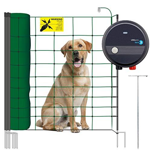 VOSS.PET Hundezaun Set, 50m Elektrozaun Weidezaun Elektronetz Hunde-Set mobil, Einzäunung im Garten, Weidezaungerät fenci M09, 108cm 14...