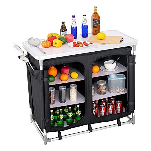 Puluomis Campingschrank,Campingküche Cupboard mit Aluminiumgestell, Klappbar, Leichtgewicht Tisch Faltbar Campingtisch mit Tasche für...