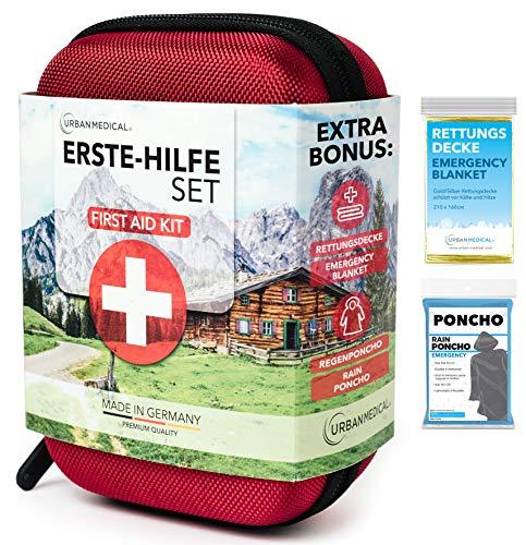 URBAN MEDICAL Premium Erste Hilfe Set aus Deutschland DIN 13167 + Regenponcho + Rettungsdecke | Verbandskasten | Camping Sport Reisen...
