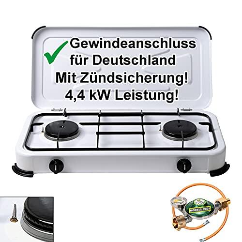 CAGO Campingkocher Gaskocher 2 flammig mit Zündsicherung inkl. Gasschlauch und Gasregler mit 360°-Manometer Gas Füllstandsanzeige und...