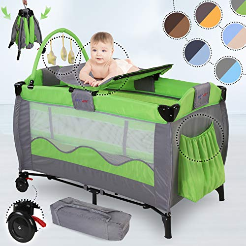 Infantastic® Kinderreisebett - 126/66/82cm, bis 15 kg belastbar, faltbar, höhenverstellbar, inkl. Wickelauflage, Tragetasche, gepolsterter...