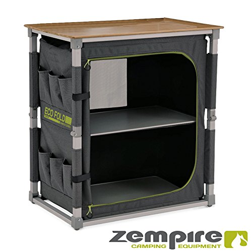 Zempire Design Campingschrank mit Einer natürlichen und wetterfesten Bambusplatte, vollständig Faltbar + Extrem Robust, 2 Große...