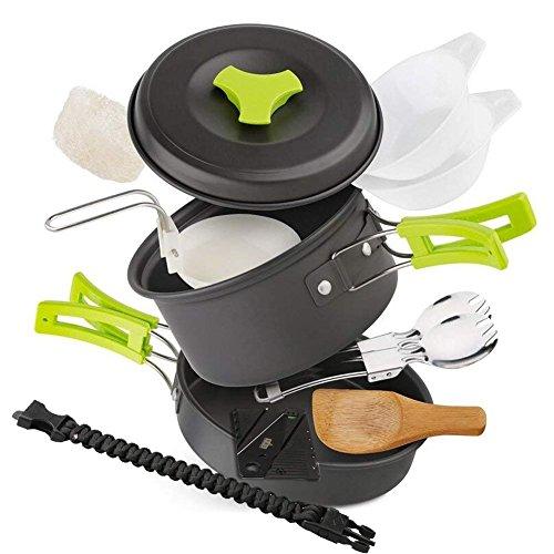 EXTSUD Camping Kochgeschirr Campinggeschirr Ultraleicht Picknick 12-Teilig Cookware Kit mit feuersteine Armbänder und Kartenmesser für...