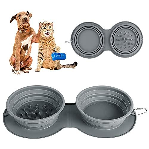 Zusammenklappbarer Futternapf für Hunde, Wasser, tragbar, für Reisen,Tierfutter, Katzennapf, faltbar, erweiterbar, mit rutschfestem...