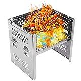 otutun Campingkocher Holzofen , Campingkocher Holzofen Tragbar Kompakt Edelstahl mit Aufbewahrungstasche , Klappbarer Mini BBQ Grill für...